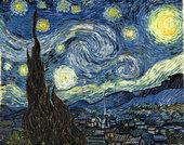 Tela al óleo de escena nocturna con astros.