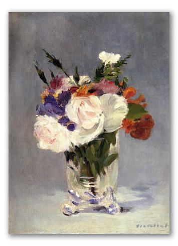 Flores en Jarrón de Cristal