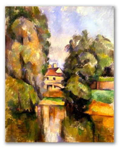 """Cuadro """"Casa de campo y un río"""""""