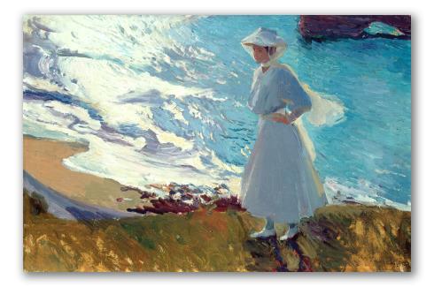 María en la Playa de Biarritz