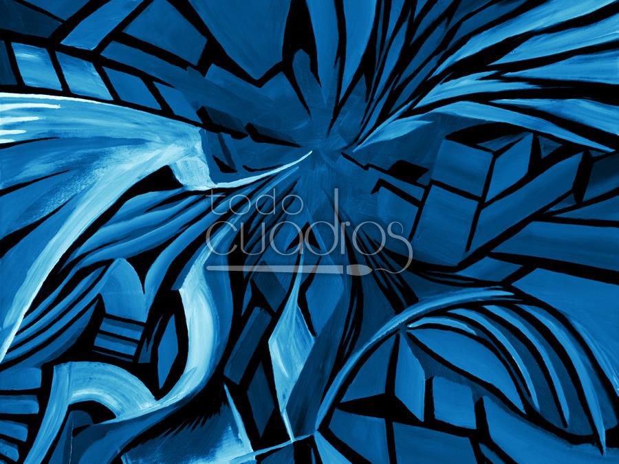 Cuadro formas azules pintura abstracta de tonos fr os for Imagenes de cuadros abstractos rusticos