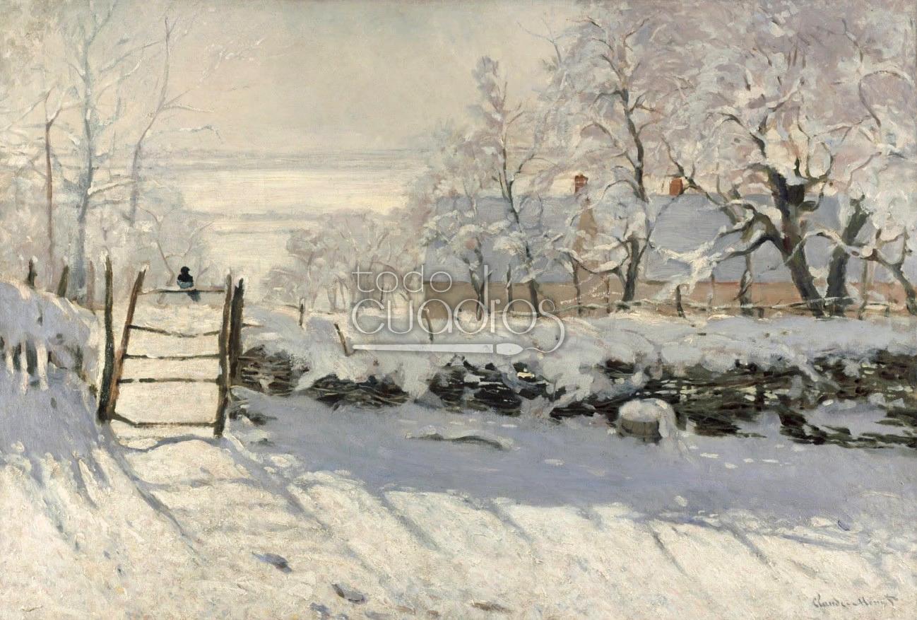 Cuadro la urraca de monet paisaje de nieve con p jaro - Cuadros de pies ...