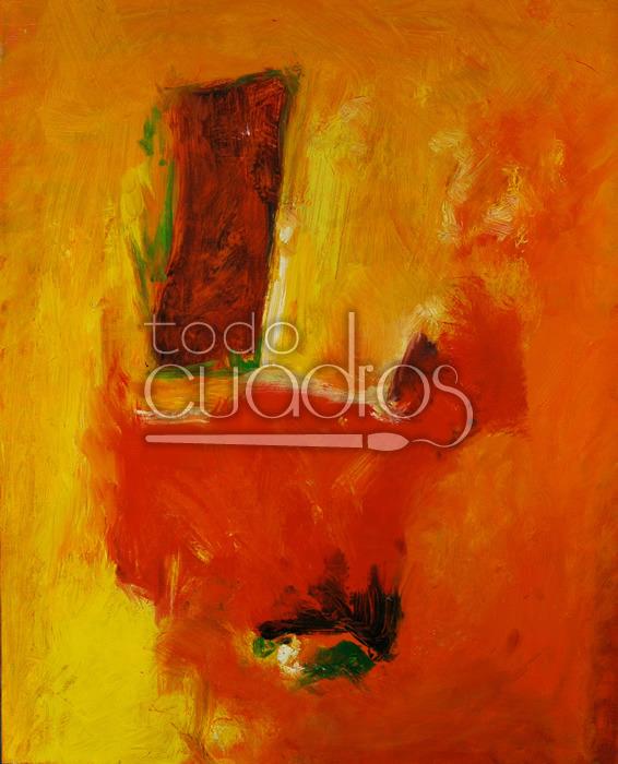 Cuadro abstracto naranja pintura tonos fuego Decoracion de interiores con cuadros abstractos