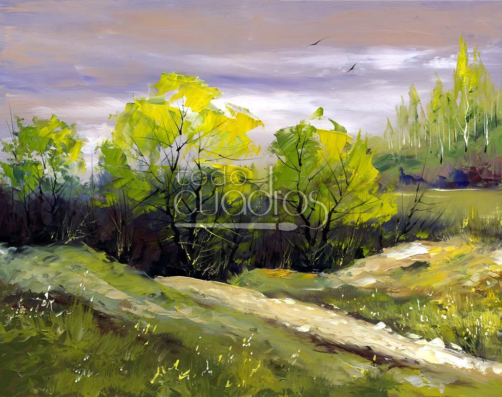 Cuadro Árboles del Monte, paisaje pintado a mano a la espátula.